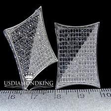 Men's Kite  21MM Clear Lab Diamond Earring Studs Gold Finish New Black & White