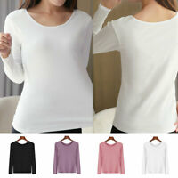 Womens Long Sleeve Thermal Top Crew Neck T-Shirt Waffle Knit Layering Warm Soft