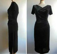 LAURA ASHLEY Black Pencil Dress Velour Stretch Velvet Size 10 or sml 12