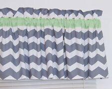 Mint Green & Gray Chevron Window Valance Zig Zag Bath Bedroom Nursery FREE SHIP