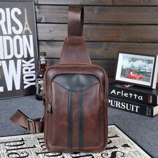 UK Men Leather Small Backpack Sling Chest Crossbody Sports Shoulder Bag Handbag
