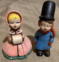 Vintage Christmas Carolers Boy Girl Ceramic Holiday Decor Collectible