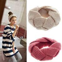 Les Femmes Fille Crochet Twist tricoter Turban Hiver Chaud Bandeau Cheveux Decor