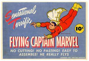 Fawcett Flying Captain Marvel Paper Toy 1944 Excellent