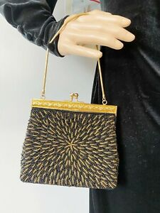 Vintage evening beads bag classic 1950s handbag, classic Kelly, Made in England