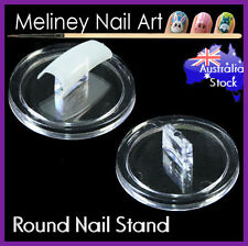 Round Nail Stand Practice Display Holder Nail Art Tool Clear Plastic