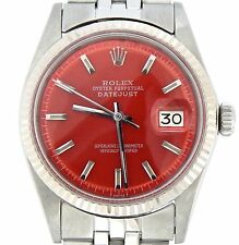 Rolex Datejust Mens Stainless Steel 18K White Gold w/ Jubilee Band Red Dial 1601