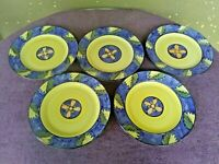 "Tabletops Unlimited Deruta Blue Yellow Dinner Plates 10.5"" Set of 5"