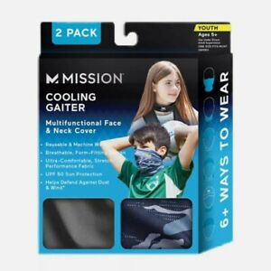 Mission Cooling Neck Gaiter 2 Pack Youth 5+ Face And Neck Cover UPF 50