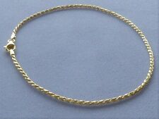 "Ankle Bracelet- Rope Link- Italy 925 New 10"" Gold Over Italian Sterling Silver"