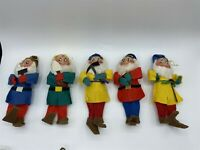 "VINTAGE CHRISTMAS DWARF LOT OF 5 FELT ORNAMENTS ABOUT 6"" TALL 1960'S"