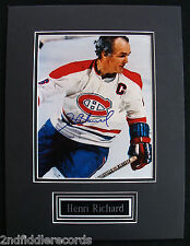 HENRI RICHARD-CANADIENS-Rare Autographed Picture-Double Matted w/Brass Nameplate