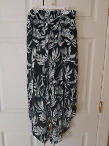 Women Blue Island Rayon Resort Tropical Beach Pants Open Leg Cover Up Size M