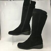 Aquatalia Womens 8.5 Side Zip Knee High Tall Wedge Boots Black Suede Faux Fur
