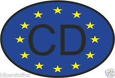 CD CORPS DIPLOMATIC COUNTRY CODE OVAL WITH EUROPEAN UNION FLAG STICKER