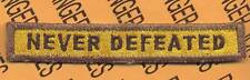 """240th Armored """"NEVER DEFEATED"""" TANK TAB patch"""