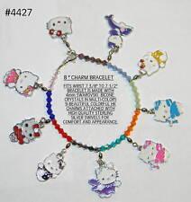 "#4427 ""HELLO KITTY"" Charm Bracelet 8"" w/9 HK Charms ""Resizable"""
