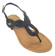 6d74f1153 New Ladies  Braided Roman Gladiator Flat Sandal T-Strap Thong Sandals(8016)