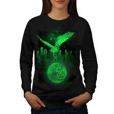 Wellcoda Owl Night City Animal Womens Sweatshirt, City Casual Pullover Jumper