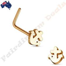 316L Surgical Steel Rose Gold Ion Plated Anchor Top L Shaped Nose Stud