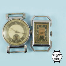 2x Men's Art Deco Watches with Articulated Lugs Swiss Mvt's Spares & Repairs 033