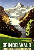 Switzerland Grindelwald 1942 Vintage Poster Print Tourism Travel Mountain