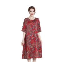 Plus Size 5XL New Short Sleeve Printed Loose Silk Blend Lady Robe Dress Summer L