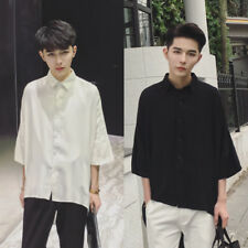 Mens Gothic Punk Loose T-shirts Batwing Half Sleeve Casual Shirt Tops Asymmetric