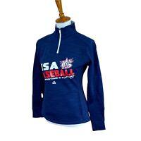 Majestic Women's 1/4 Zip Mock Neck Pullover USA Baseball Navy Blue Jacket Small