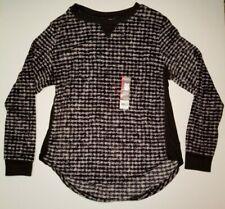 Secret Treasures Womens Sleep wear Black Velour Lounge Thermal Style Shirt S NWT