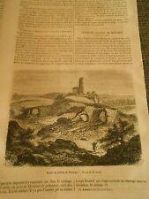 Ruines du Chateau de Montaigu Saone et Loire Gravure Print 1871