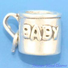 BABY CUP BABY'S FIRST MUG 3D .925 Solid Sterling Silver Charm