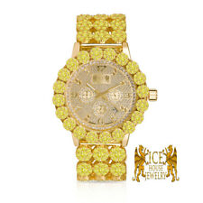 Gold Canary Genuine Diamond Stainless Steel Custom Ice House Watch W/Date