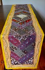 Sequin Table Runner INDIAN Wall Hanging Recycled Sari Lace Yellow YR08