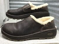 Chaco Women Loafer Brown Leather Wool Fur Lining Vibram Sole Comfort Loafer Sz 7