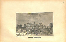 Jardin du Luxembourg et Palais du Sénat à Paris France GRAVURE OLD PRINT 1873