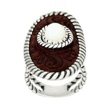 AMERICAN WEST STERLING SILVER/BRASS LEATHER OVAL RING SIZE 5 QVC $79.00