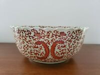 Red Iron Crackle Scalloped Edge Lotus Flower Floral Scroll Chinese Bowl 13.5in