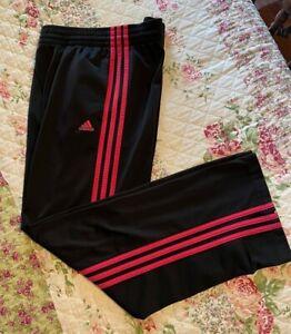 Adidas Athletic Pants, Black Pink, Drawstring, Slits, RN# 88387 Womens sz Small