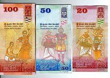 2010 Sri Lanka 20,50 & 100 Rupees 3 Notes Uncirculated