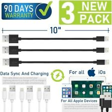 "10"" Short Data Sync/Charging USB Cable for iPad,iPhone 6,7,8,X,XR,XS,11 (3-Pack)"