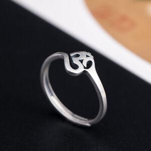 I04 Ring buddhistisch OM Symbol Silber 925 Gr. 17 - 18 größenverstellbar