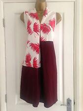 NEXT Burgundy White Palm Leaf Print Dress Size 8