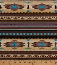 Southwestern Stripes Brown Turquoise Aztec Cotton Fabric Print by Yard D366.30