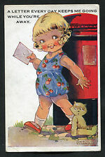 Posted C1930s Comic/Cartoon: Young Girl/Teddy/Postbox: Letter Every Day