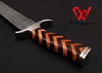 Custom handmade Damascus steel mini sword with custom leather sheath