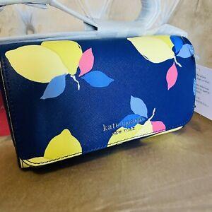 Kate Spade Cameron Lemon Zest Small Flap Crossbody Bag Handbag Blue Yellow New