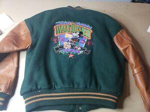 Vintage Walt Disney Studios Leather Varsity jacket 90's Mickey Mouse Sz S USA