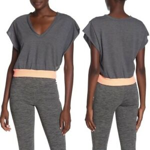 Free People Movement Happy Camper Womens V Neck Crop Top Workout Tee Gray Small