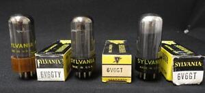 3PCS) SYLVANIA 6V6gt black plate-smoked glass NOS Vacuum Tubes
